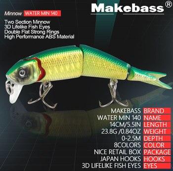 MAKEBASS 5.5 In/0.84 Oz Minnow Sinking Vissen Lokken Multi-Jointed 3 Secties Kunstmatige Harde Aas Wobblers Vissen Visgerei