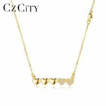CZCITY Love heart 925 Sterling Silver Necklaces Jewelry Pendant Necklace for Women 18k Gold colour Jewelry Fine Gift
