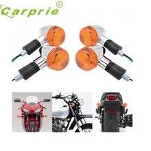 New 4x Amber Chrome Bullet Front Rear Turn Signal Blinker Indicator Light Motorcycle NOV23