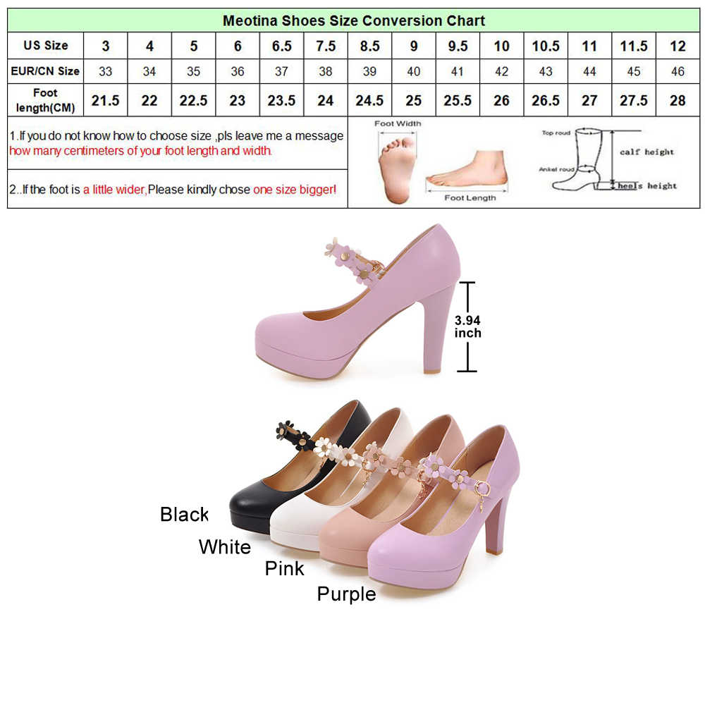 Meotina Kadınlar Mary Janes Ayakkabı Platformu Yüksek Topuklu Çiçek Beyaz Düğün Ayakkabı Toka Kayış Ayakkabı Kadın Parti Pompaları Mor Pembe