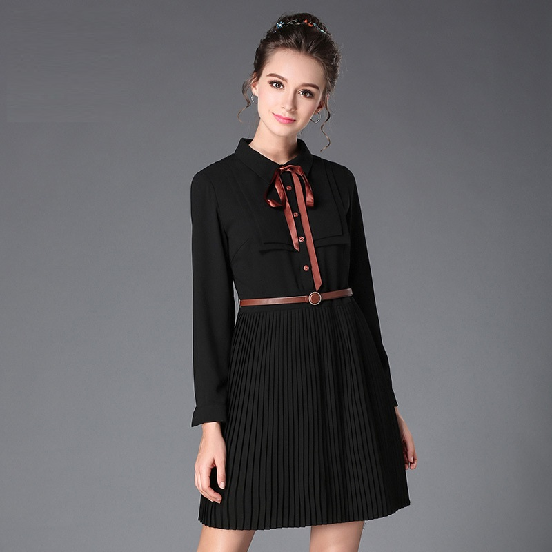 2017Autumn Fashion Ladies pleated dress turn down collar pinched waist Cultivating elegant Dress casual Vestido plus size XXXXXL