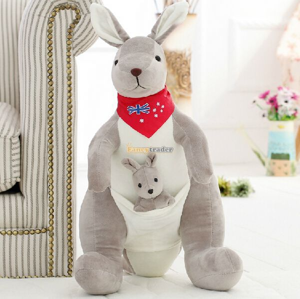 Fancytrader  New 28'' / 70cm Giant Plush Stuffed Big Grey AU Kangaroo Toy, 2 Colors Available! Free Shipping FT50253 fancytrader new style giant plush stuffed kids toys lovely rubber duck 39 100cm yellow rubber duck free shipping ft90122