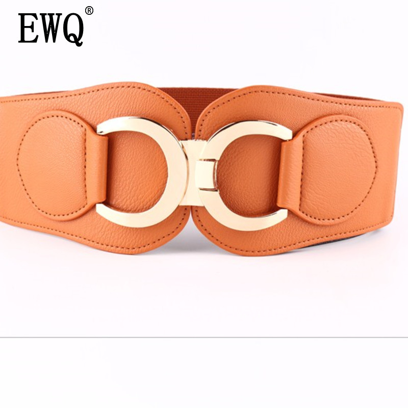 [EWQ] 2019 Summer New Novelty Solid Color Gold Buckle Waistband Curved Buckle Wide Belt Wild Ladies Accessories 4 Color QH58303