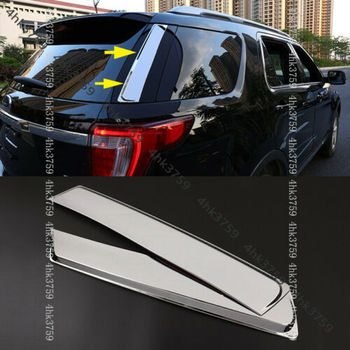 Chrome Rear Trunk Window Triangle Cover Trim 2pcs for Ford Explorer 2011-2019