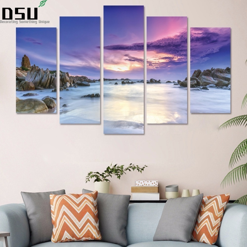 New 5pcs/set Purple Sky Beach Combination 3D DIY Wall Stickers Home Decor Bedroom Landscape Poster Self-adhesive Art Mural Decal