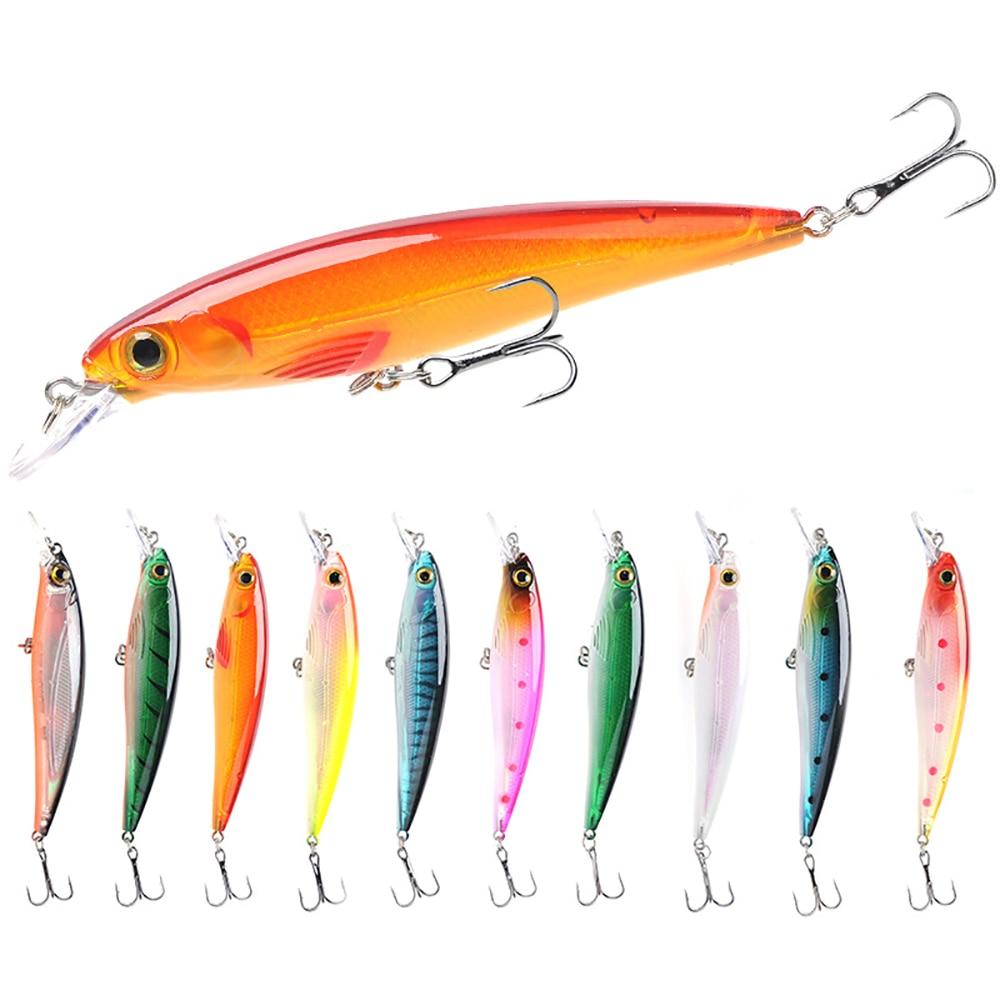 10pcs Set Floating Minnow Fishing Lure Hard Artificial Crank Baits 3D Eyes 11cm 13.6g Wobblers Crankbait Treble Hooks Bass Pesca