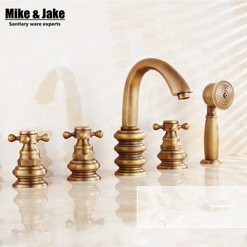 Antique Brass 5pcs Bathroom Tub Sink Faucet with Hand Shower Deck Mounted 5 Holes Three Cross Handles Bathtub Taps MJ358 dual cross handles antique brass bathroom tub faucet with hand held shower sprayer