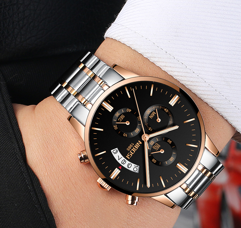 2018 NIBOSI Gold Quartz Watch Top Brand Luxury Men Watches Fashion Man Wristwatches Stainless Steel Relogio Masculino Saatler    (16)