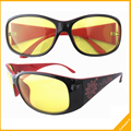 FS8018 Plastic Frame Floral Arms Yellow Lenses Night Driving Sunglasses Women