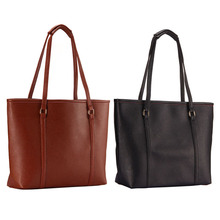Shoulder Bags Elegant Lady PU Leather Handbag Pure Color Large Capacity Women Handbag  Bolsa Feminina 2 Color E#CH 2016