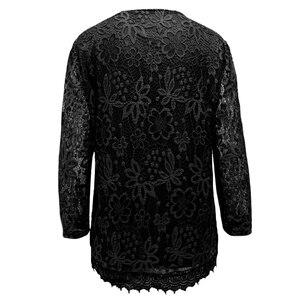 Image 2 - Womens Plus Size Elegante Lange Mouwen Bloemen Kant Zwart T Shirt Vrouwen Dames Tee Shirts 6XL 7XL 8XL H009