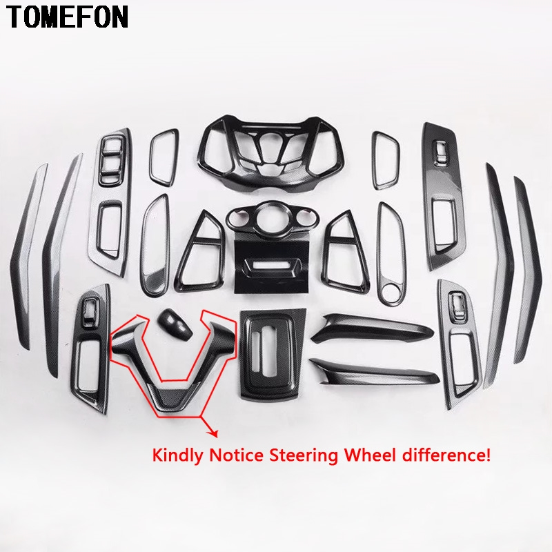 For Ford Ecosport 2013-2017 ABS Carbon Fiber Paint Steering Wheel Gear Armrest Panel Inner Handle Interior Kit Accessories цена