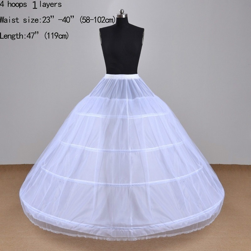 Real Photo In Stock Ball Gown Petticoat Tulle Petticoat 4 Hoops Wedding Accessories Crinoline Petticoat For Wedding Dress