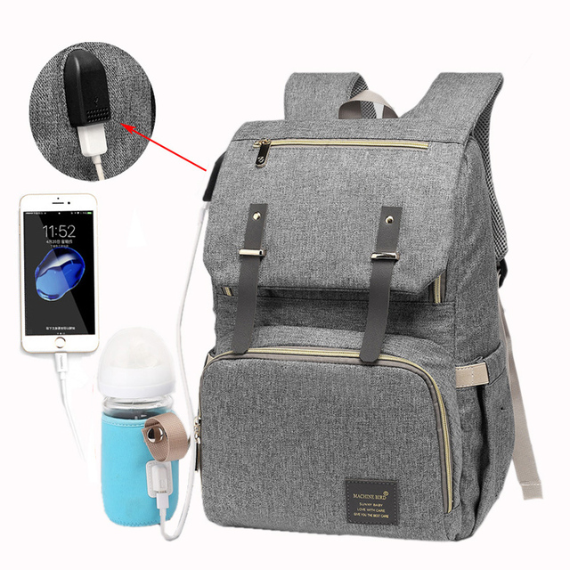 USB Rechargeable Independent Insulation Backpack Diaper Bag Waterproof Travel Bags Baby Stroller Nappy Bag Daddy Large Capacity