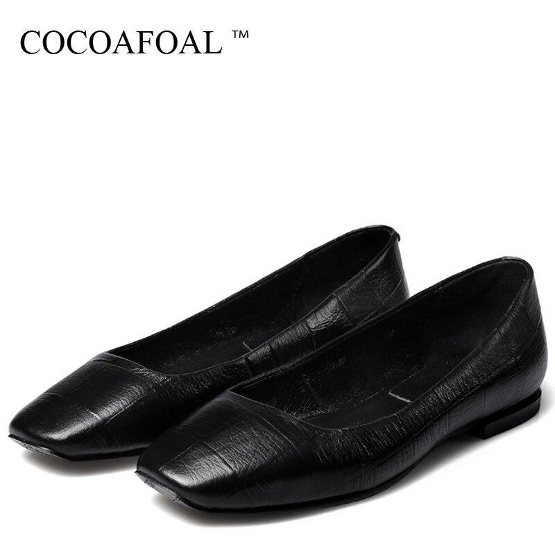 Cuir Peu Appartements Printemps Femme Mode Ballet Argenté Chaussures En Noir 2017 Carré Cocoafoal Plate Bout Véritable Automne forme argent Profonde ZqwRn8WP