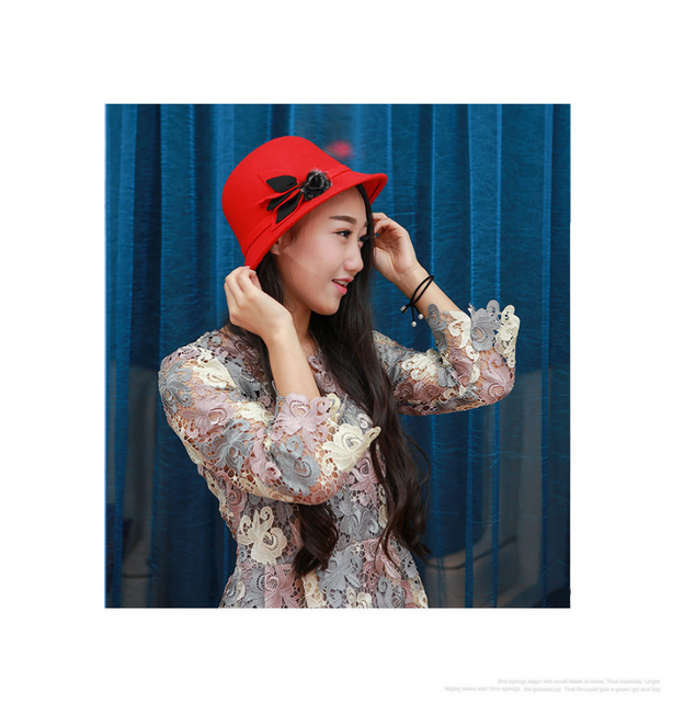 Autumn and winter new faux woolen hats Women s leaves fur ball retro hats  fashion dome caps be00a504aa2