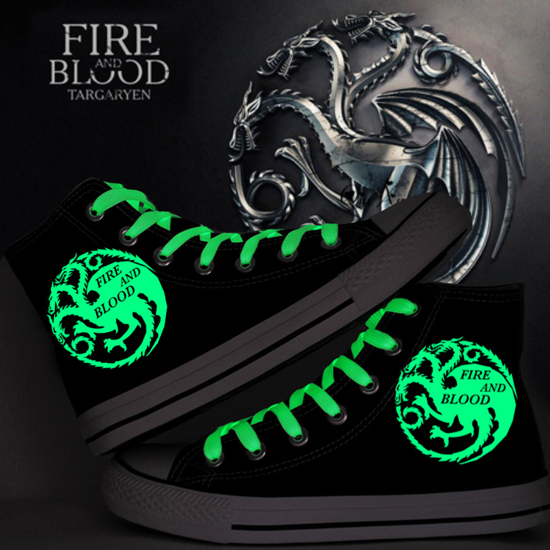 The Game of Thrones Luminous Canvas Shoes The Fire and Blood Hand Painted Shoes Men High Top Sneakers Glow in the Dark Shoes