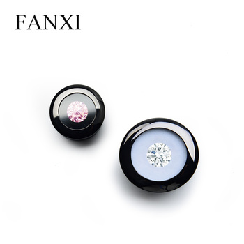 FANXI Black Metal Naked drill box with circular arc shape for Jewelry Organizer loose diamond Exhibition Holder Props