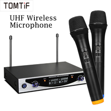 TOMTIF 2 Channels UHF Wireless Handheld Microphone System Professional Karaoke Microphone Family KTV Dual Stereo MIC Condenser boya by whm8 professional 48 uhf microphone dual channels wireless handheld mic system lcd display for karaoke party liveshow