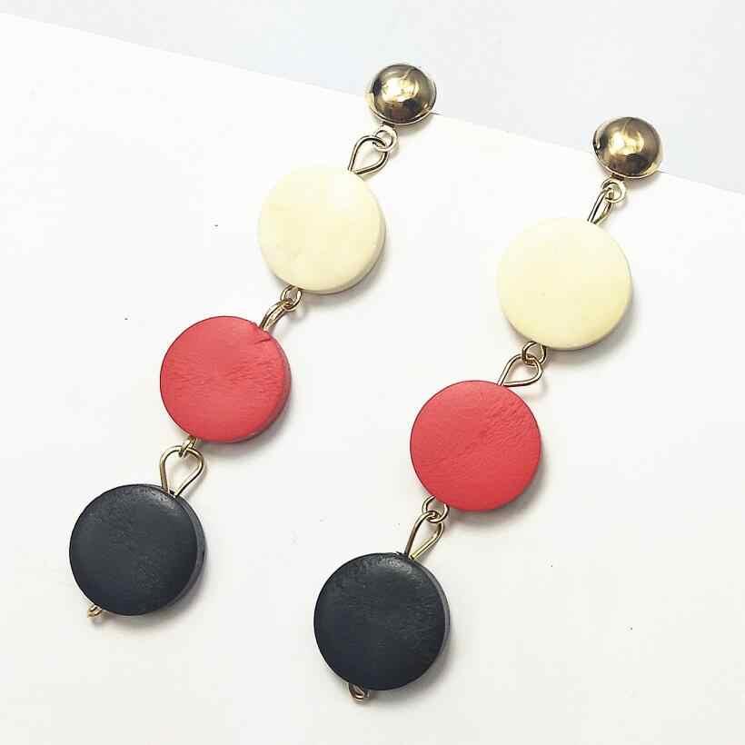 New Three Round Earrings Geometric Wooden Drop earrings For Women Hanging Dangle Earrings Fashion Jewelry