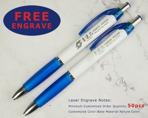 Image 2 - Lot 50pcs Retracktable Plastic Nash Ball Pen,Color Grasp,White Barrel Ballpoint,Customized Promotion Gift ,Add Company Logo