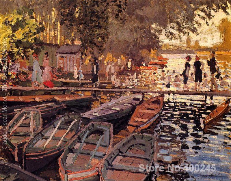 Christmas Gift art on Canvas Bathers At La Grenouillere by Claude Monet Painting High Quality Handmade