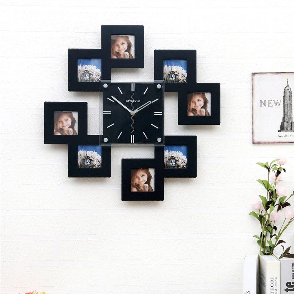 1 pièces nordique mode cadre en bois horloge salon maison personnalité horloge chambre horloge muet montre LU727158