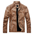 Leather Bomber Jackets Men Slim Faux Leather Coats Winter Zipper Casual Suede Slim Motorcycle Jacket PU Stand Collar
