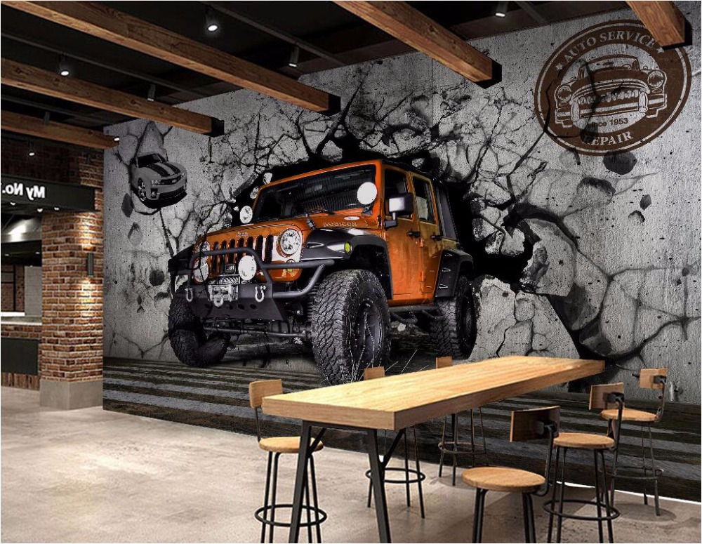 Custom mural 3d wallpaper picture european car broken wall for Custom mural wallpaper