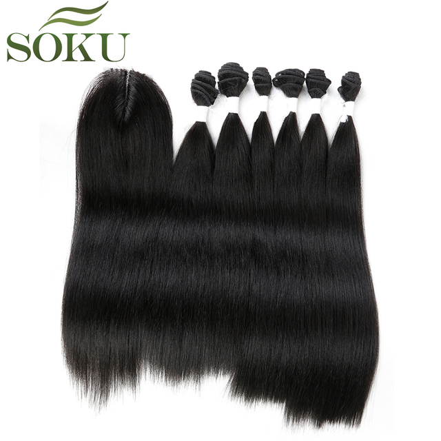SOKU Synthetic Hair Bundles With Closure 14-18inch Yaki Straight Hair Weaving 6 Bundles With Lace Closure 185g 7pieces/pack 1
