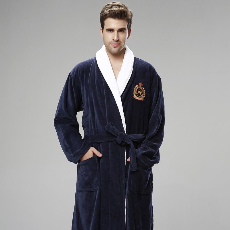 3c9d85db73 XMS Winter thickening Men bathrobe plus size Pajamas Pyjamas towel fleece robe  warm lengthen Male Dressing Gown Mens Night Robes-in Robes from Underwear  ...