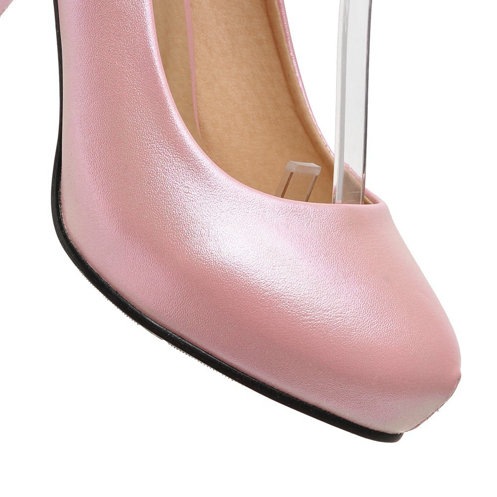 2017 Chunky High Heeled Pink Bridal Wedding Shoes Beaded White Female Buckle Elegant Pumps Silver Gold5