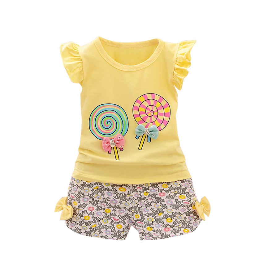2017 New Fashion Summer  2PCS Toddler Kids Baby Girls Outfits Lolly T-shirt Tops+Short Pants Clothes Set  P3 hot sale 2016 kids boys girls summer tops baby t shirts fashion leaf print sleeveless kniting tee baby clothes children t shirt