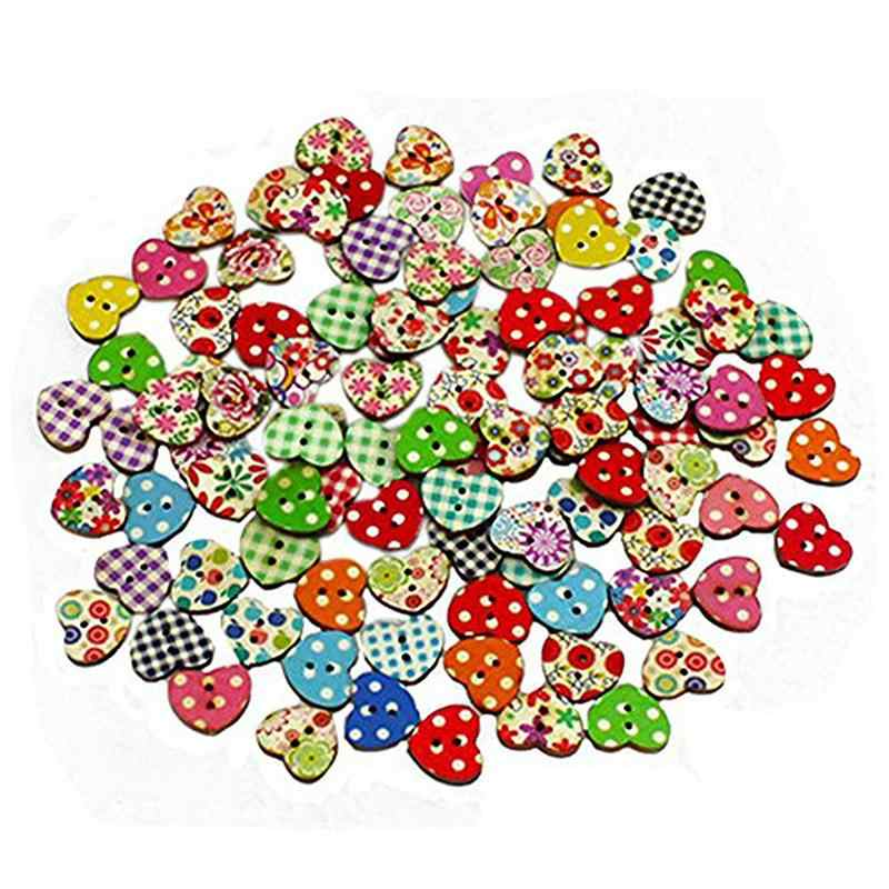 100pcs Multicolored Heart Shaped Wedding Party Decor 2 Holes Wood Sewing Buttons