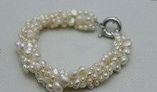 0470 5 hebras giro de agua dulce blanco brazalete de perlas de Estilo