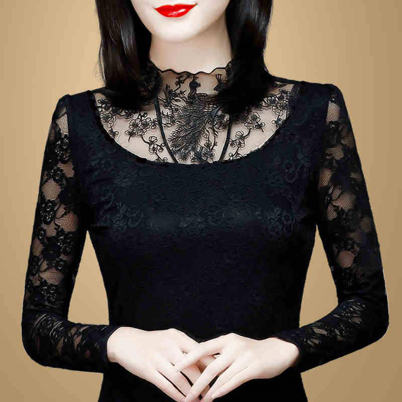 Hollow Out Women Spring Autumn Style Lace   Blouses     Shirts   Casual Long Sleeve Patchwork Spliced Turtleneck Blusas Tops DF2600
