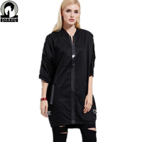 Women Jacket Autumn Fashion Women Zipper Design Oversize Loose Women Coat Spring Womens Three Quarter Sleeve