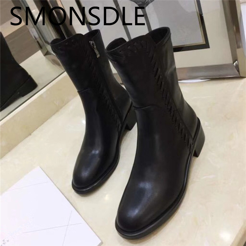 SMONSDLE 2018 New Fashion Women Boots Shoes Woman Black Genuine Leather Round Toe Side Zip Mid Calf Women Autumn Winter Boots zorssar 2018 new fashion women boots genuine leather zipper round toe mid heels womens mid calf boots autumn winter women shoes