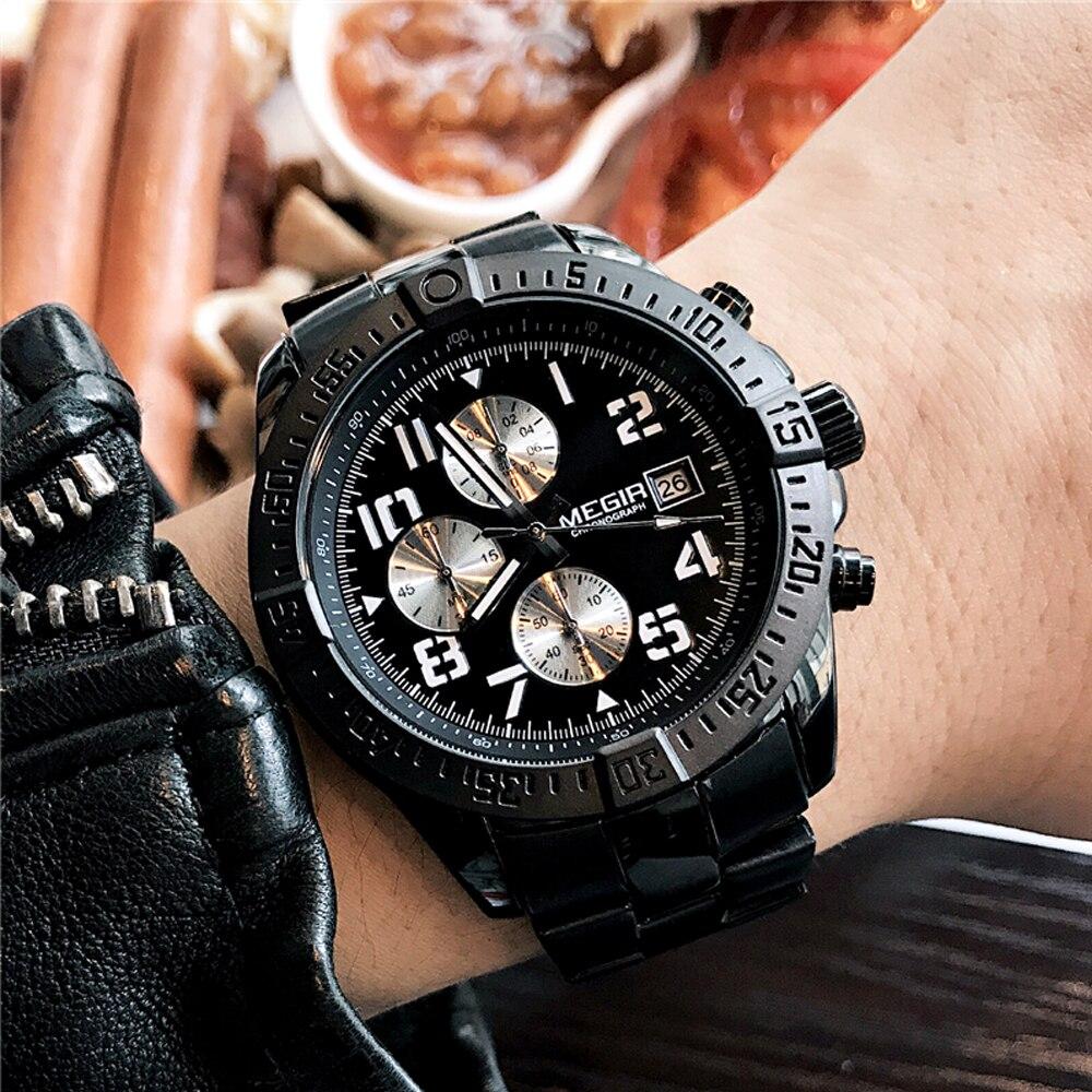 Megir Men Watches Stainless Steel Waterproof Multifunction Quartz Watch Business WristWath Man Clock Hour Time Relogio Masculino цена и фото