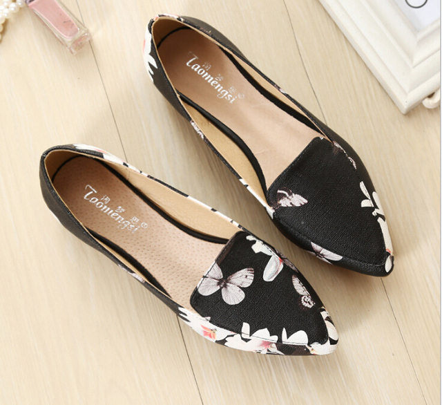 Manufacturers selling national printed fashion women's shoes pointed ms low with non-slip shoes casual shoes size 34-43