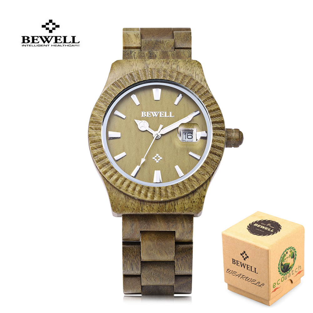 Bewell bamboo Wood Watch for Men Watch Wooden band Date Strap Japanese Movement Quartz Analog Wristwatch Male Relogio Masculino unique handmade natural bamboo wood watch analog mens simple quartz wristwatch male genuine leather relogio masculino esportivo
