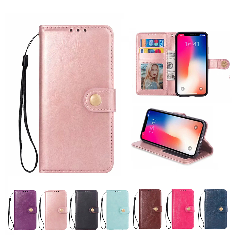 Phone flip cover leather Case Leather Flip For iPhone 6 6S 7 8 Plus X with Stand Wallet Card Slot Back Cover