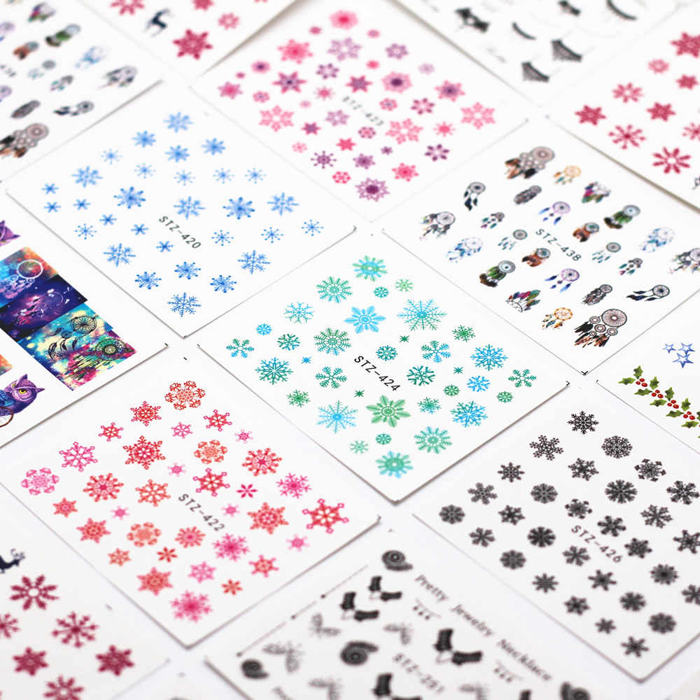 1pcs Snowflake Cartoon Nail Water Sticker Leaf Lace Design Slider Nail Art Decal Beauty Foils Decoration