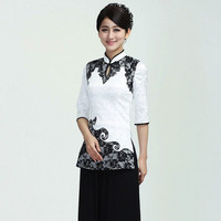 New Arrival Chinese Style White Cotton Lace Female Tang Suit Tops Blouse Traditional Three Quarter Shirt