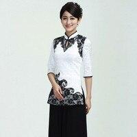 Nieuwe Aankomst Chinese Stijl Wit Katoen Kant Vrouwelijke Tang Pak Tops Blouse Traditionele Drie Kwart Shirt Maat M TOT 3XL 2371