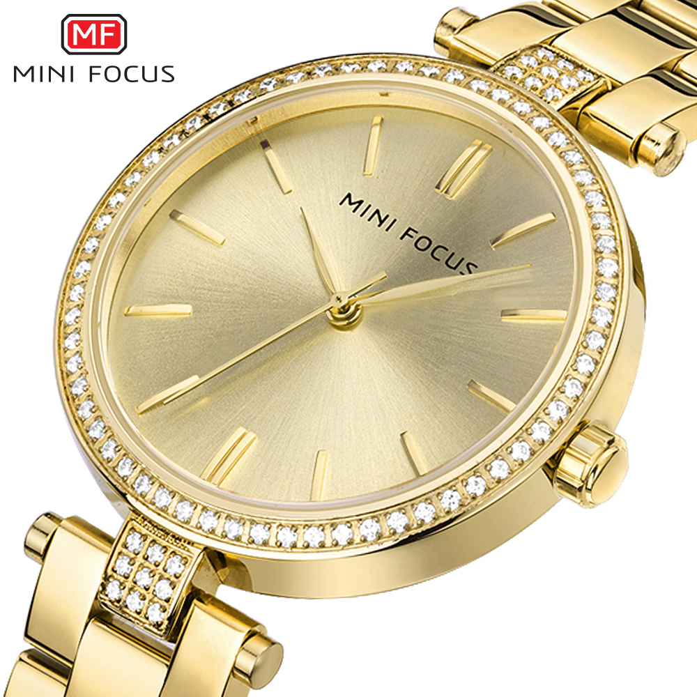 MINI FOCUS New Arrival Gold Watch Women Brand Simple Dial Quartz Watch Top Luxury Brand Waterproof Dress Rhinestone Watches 2017 luxury brand time story women s necklace quartz analog rhinestone anti clockwise watches women waterproof watch