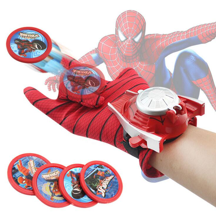 все цены на Spider man Launcher Toys For Kids Boys Captain America Iron man Hulk Batman Glove Launcher Christmas Gift Cosplay Toys Spiderman онлайн