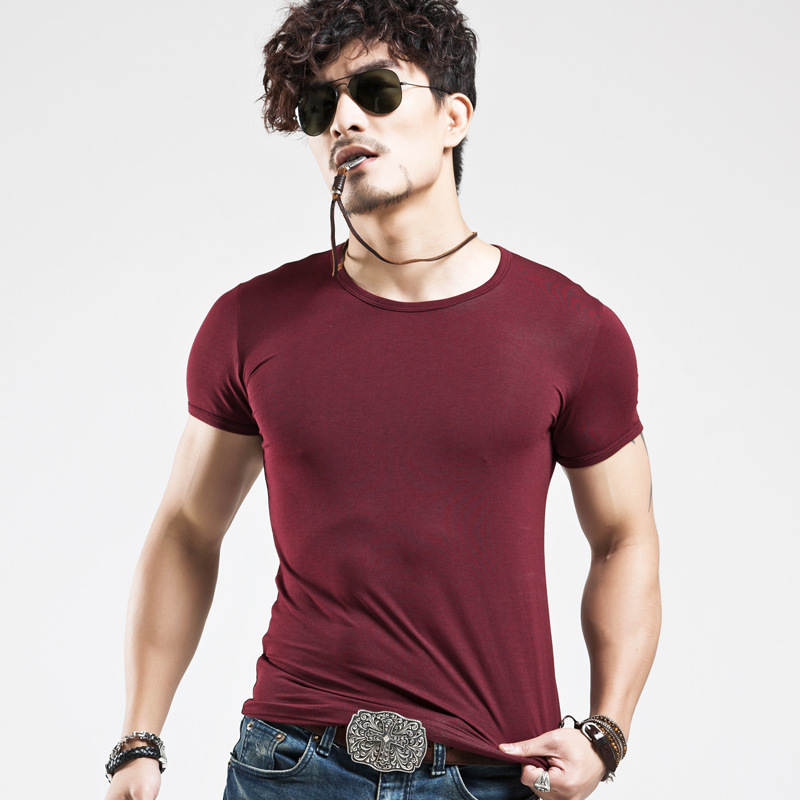 Herre Pure Colour O-Neck T-Shirt Render Unlined Upper Garment T-Shirt Til Mand Med Short Sleeves Tight Herretøj