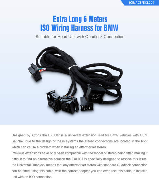 Stupendous Online Shop Xtrons Extra Long 6 Meters Iso Wiring Harness For Bmw Wiring Digital Resources Dylitashwinbiharinl
