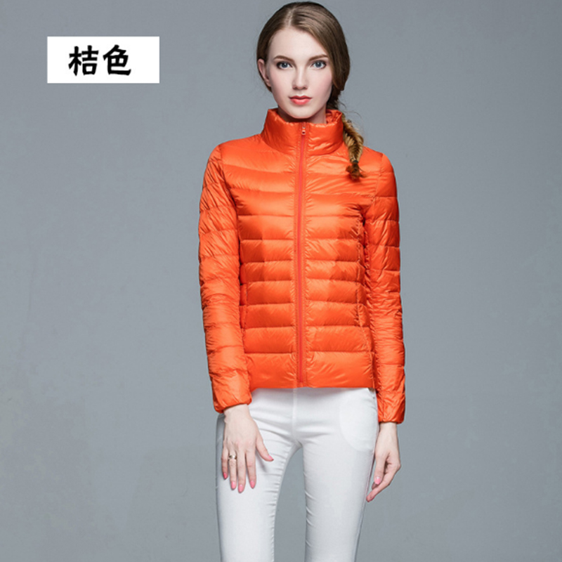 Woman Autumn And Winter Stand Collar Slim Short Ultra Light   Down   Jackets Female Orange Wear   Coat   Parkas Plus Size Parkas Mujer
